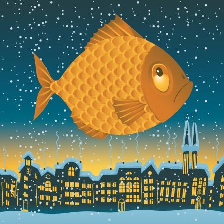estrella caricatura: gran pez vuela por el cielo sobre los tejados de la ciudad vieja