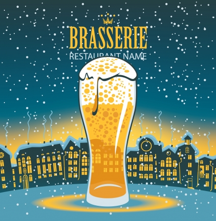 beer house: glass of beer on the background of a winter city landscape
