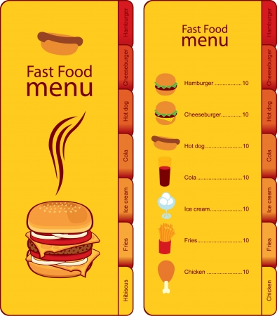 ham sandwich: for fast food menu with tabs for different dishes