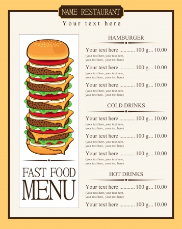 eating fast food: menu for fast food cheeseburger with