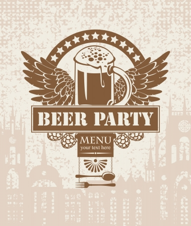 beer house:  banner with a beer on a background of the old town