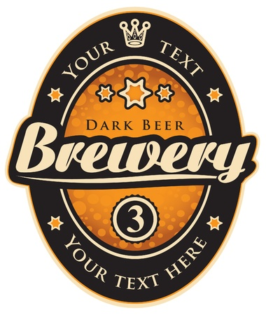 brouwerij: zwart en goud label met het opschrift brouwerij Stock Illustratie