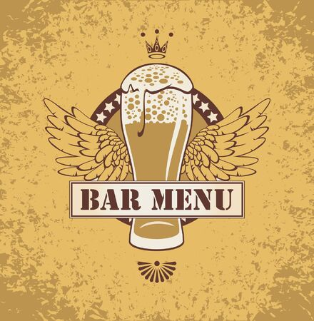 banner with a beer and wings Stock Vector - 17725144