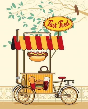 trolley wheel for fast food in the urban landscape  Vector