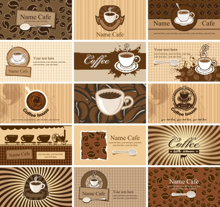 coffee house: set of business cards on coffee