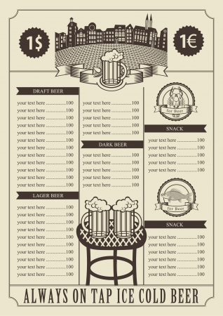price for a pub with a table and glasses  Vector