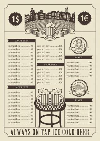 cafe bar: prijs voor een pub met een tafel en glazen Stock Illustratie