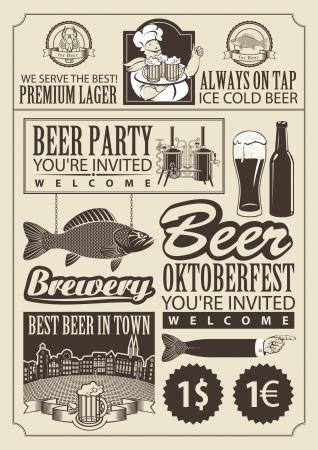 föremål: uppsättning designelement på temat öl