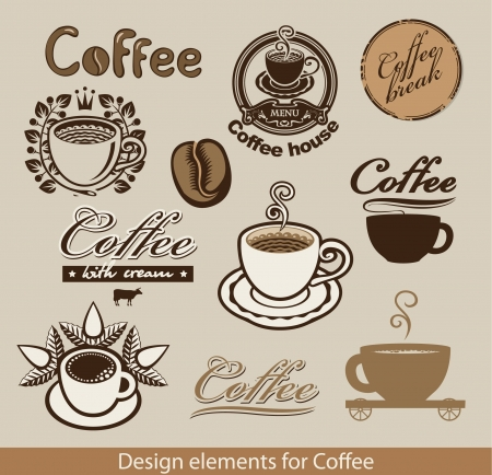 set of design elements on the coffee theme  Vector