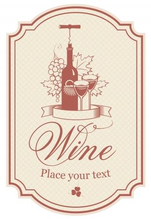 etiket voor een fles wijn, glazen en een tros druiven Vector Illustratie
