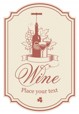 wine label: label for a bottle of wine, glasses and a bunch of grapes