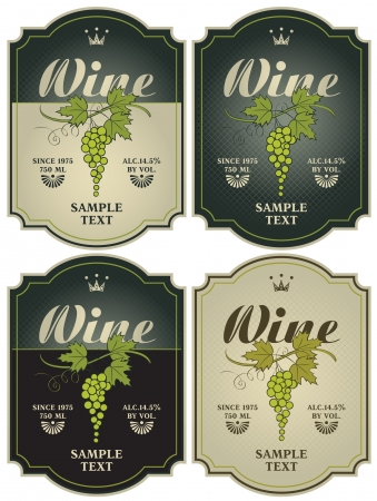 wine label design: set of four labels for wine with grapes