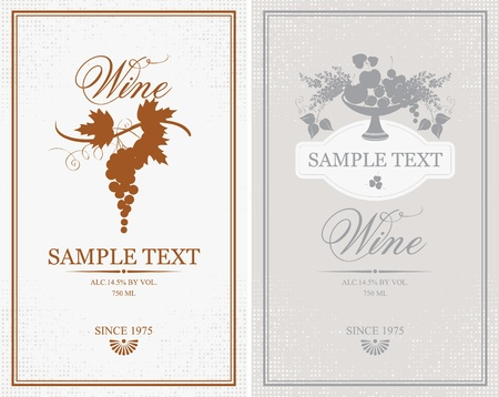 wine label: two labels for wine grapes, fruits and lilacs