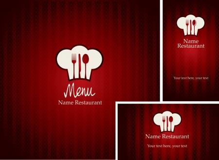 cuchara y tenedor: men�s y tarjetas de visita para el restaurante con el fondo rojo Vectores