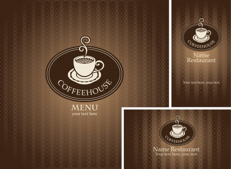 stimulant: banner and business cards with a cup of coffee on a brown background  Illustration
