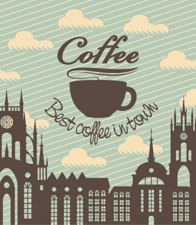 night bar: banner con una taza de caf� en un fondo de la ciudad antigua Vectores