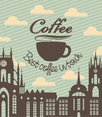 banner with a cup of coffee on a background of ancient city