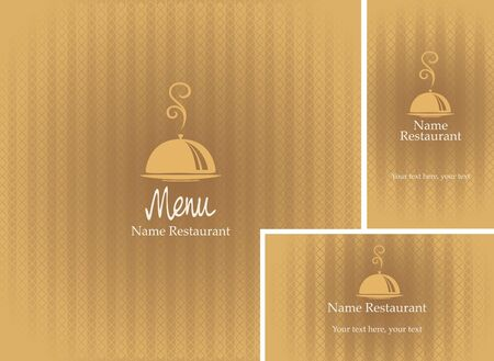 savor: menus and business cards with a tray beige background  Illustration