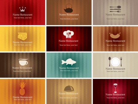set of business cards on food and drink  Vector
