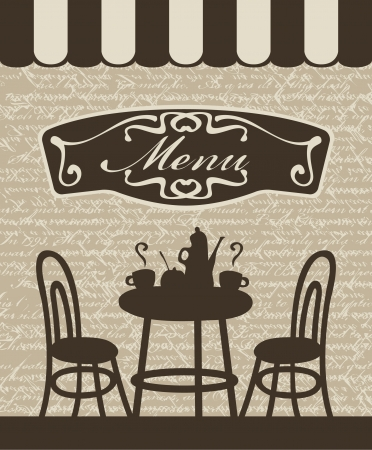 coffee shop: Cover for a menu with a table, chairs and tea in a cafe