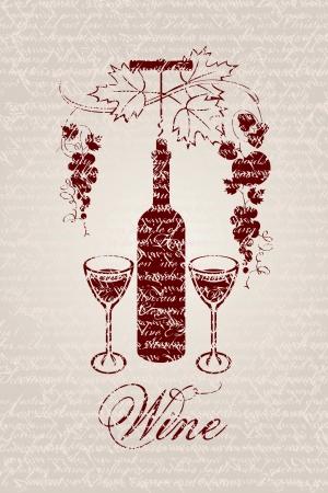 french label: banner con una botella de vino y las uvas en un fondo del gui�n escrito