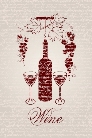 banner with a bottle of wine and grapes on a background of the written script  Vector
