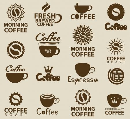 granos de cafe: conjunto de logos sobre el caf� Vectores