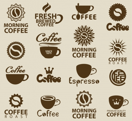 cup: set of logos on coffee