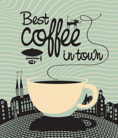 night bar: banner con una taza y el caf� Best palabras en la ciudad Vectores