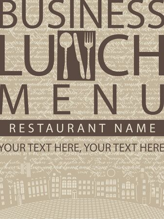 Business lunch menu sign on a background of the manuscript and the old town  Vector