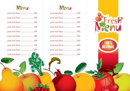 menus for juice and fresh juices from various fruits  Illustration