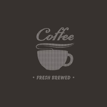beverage menu: cup of coffee of the points on a black background  Illustration
