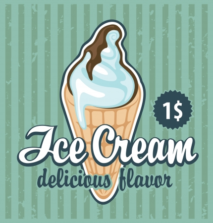 banner with the ice cream in retro style  向量圖像
