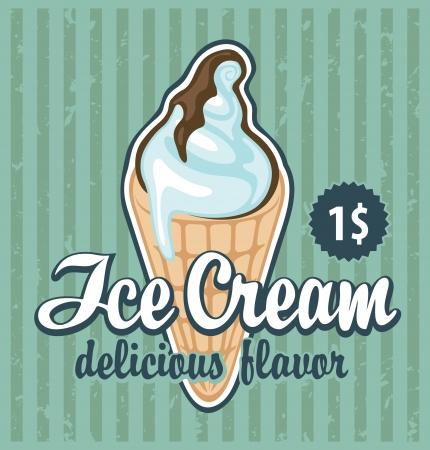chocolate ice cream: banner with the ice cream in retro style  Illustration