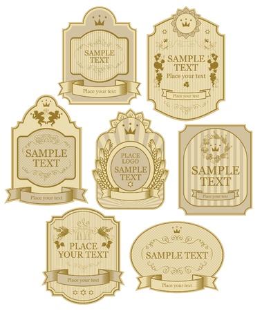 stile liberty: set di vettore di etichette di colore beige oro