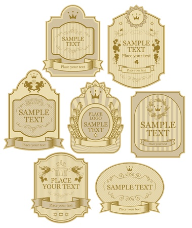 curlicues: set of vector labels beige gold color