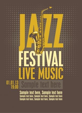 saxof�n: cartel para el festival de jazz con un saxof�n Vectores