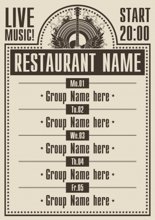 poster for a restaurant with live music  向量圖像