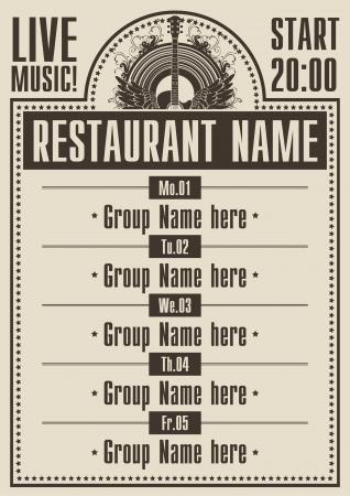 manifesto per un ristorante con musica dal vivo
