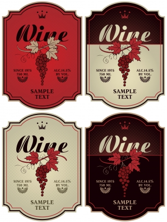 vintage bottle: set of four labels for wine with grapes