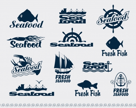 water wheel: set of logos for seafood Illustration