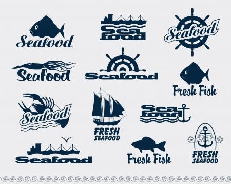 owoce morza: zestaw logotypów na owoce morza
