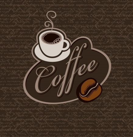 sign and a cup of coffee on a background of handwritten text Vector