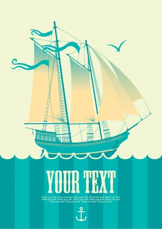 banner with sailing boat and seagull Vector