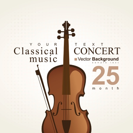 violin background: poster for a concert of classical music with violin Illustration