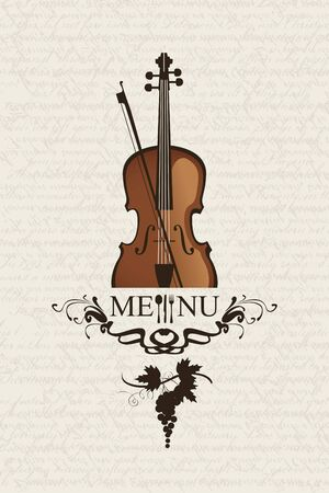 banner with cafe menus for music with violin and cutlery