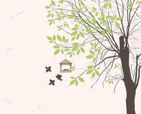 spring landscape with tree young leaves and bird feeders Vector