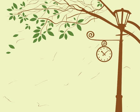 city park with lantern and clock under a tree Vector
