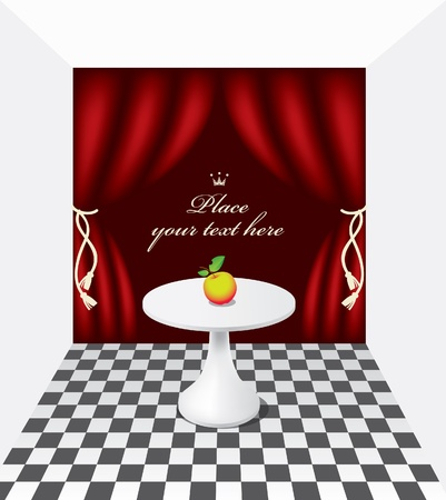 fonds: apple on the table against the background of theatrical scenes Illustration