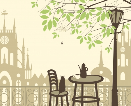 outdoor cafe in the old town with a table and a kettle cat spider Vector